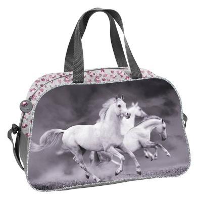 Dětská sportovní taška kabela Koně s květinami