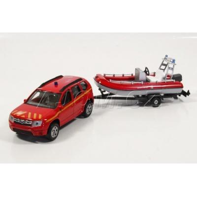 Dacia Duster s člunem Hasiči model auta Mondo Motors 1:43