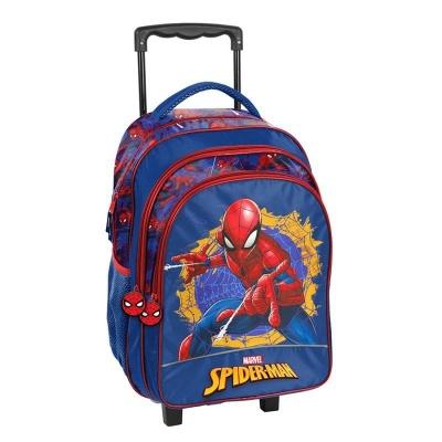 Cestovní batoh na kolečkách s vysouvací rukojetí Spiderman modrý