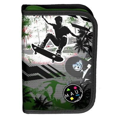 Školní pouzdro penál Maui and Sons Skater- s chlopněmi a vybavením