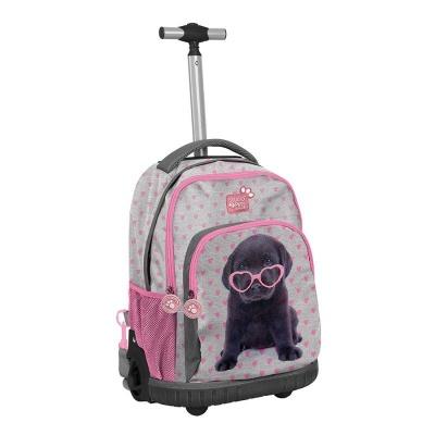 Cestovní batoh na kolečkách s vysouvací rukojetí Pejsek štěně s brýlemi