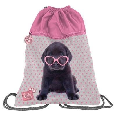 Batoh pytel vak s přední kapsou Pejsek štěně s brýlemi
