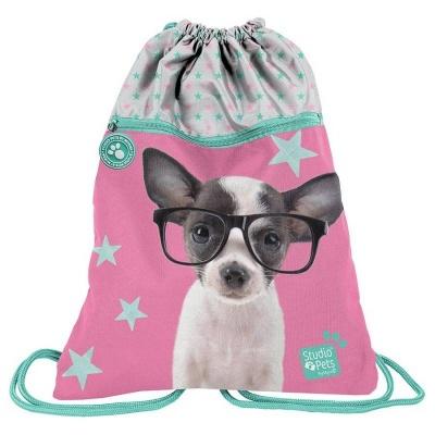 Batoh pytel vak s přední kapsou Pejsek čivava s brýlemi
