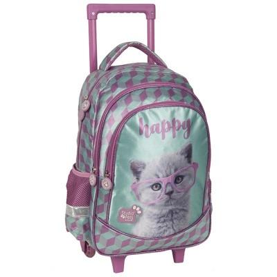 Cestovní batoh na kolečkách s vysouvací rukojetí Kočka Happy