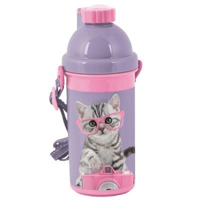 Plastová láhev 500ml Kočka s foťákem