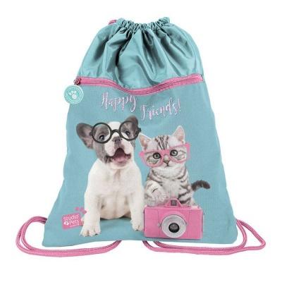 Batoh pytel vak s přední kapsou Pejsek a kočka s foťákem