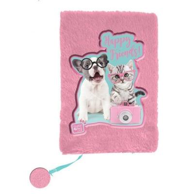 Plyšový notes A5 Pejsek a kočka s foťákem