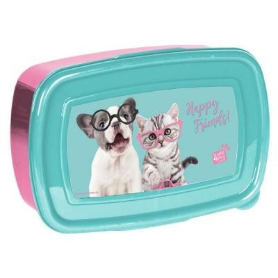 Svačinový box krabička na oběd Pejsek a kočka s foťákem