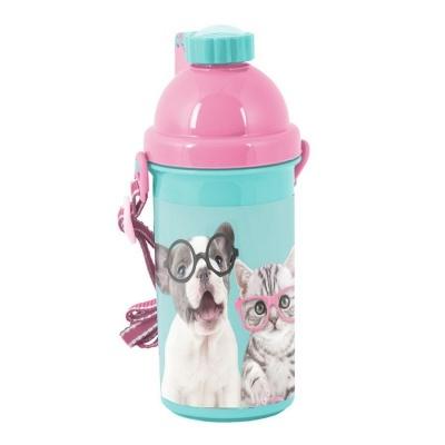 Plastová láhev 500ml Pejsek a kočka s foťákem
