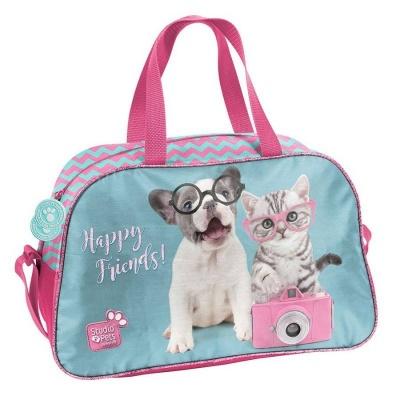 Dětská sportovní taška kabela Pejsek a kočka s foťákem