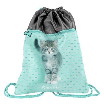 Školní pytel vak sáček s přední kapsou Kočka s mašličkou