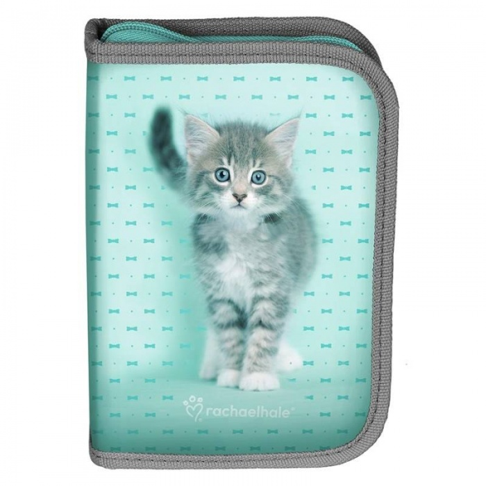 Školní pouzdro penál Kočka s mašličkami - s chlopněmi a vybavením