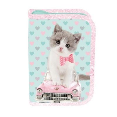 Školní pouzdro penál Kočka a auto - s chlopněmi a vybavením