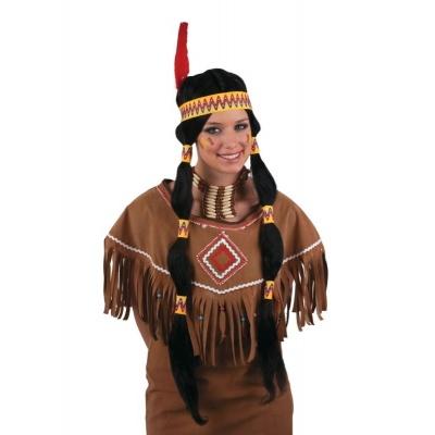 Paruka indiánka dlouhá - s čelenkou a pérem