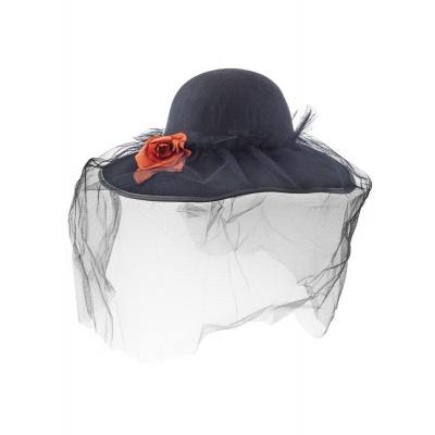 Dámský černý klobouk se závojem Vdova