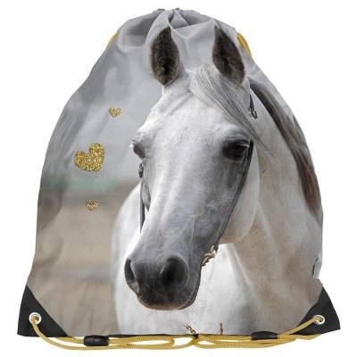 Školní pytel vak sáček zlatý Kůň