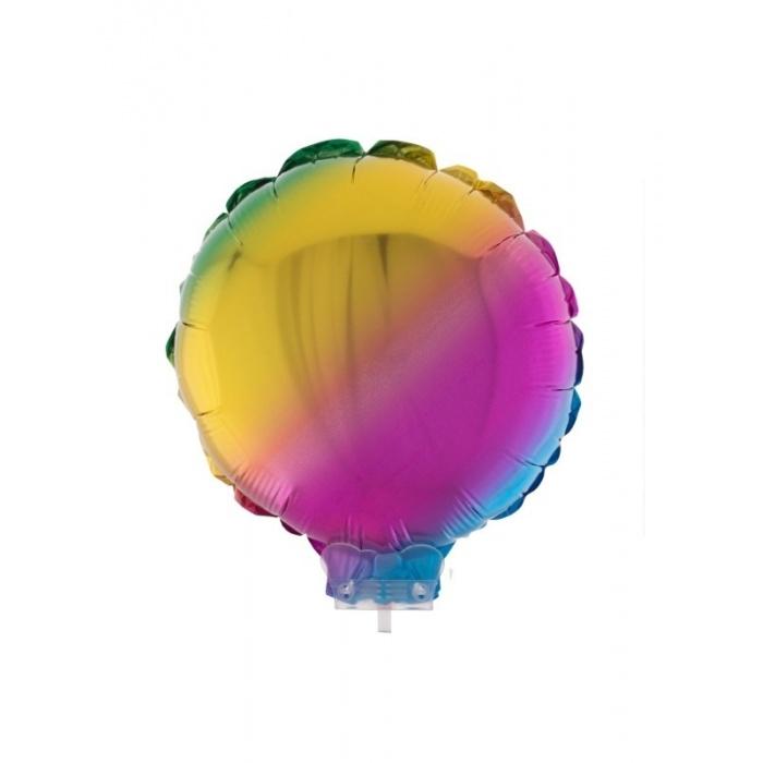Foliový balónek kulatý s tyčkou duhový 28cm