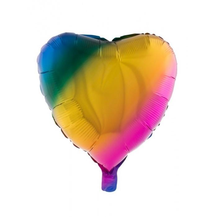 Foliový balónek Srdce duhové 52 cm