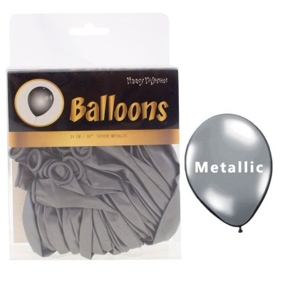 Balónky metalické stříbrné - 40ks
