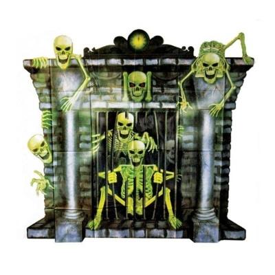 Dekorace hororový krb kostlivci - 100 x 90 cm