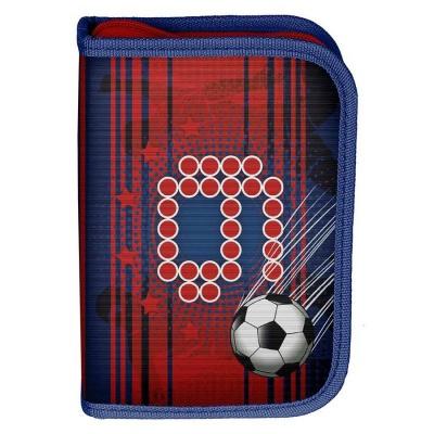 Školní pouzdro penál červený Fotbal - s chlopněmi