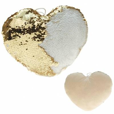 Polštářek srdce s flitry zlatý krémový 30cm