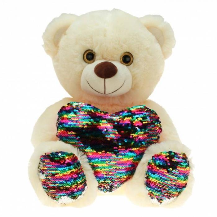 Plyšový medvídek s duhovým srdcem s flitry velký 30cm