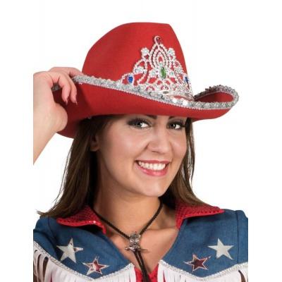Kovbojský klobouk červený s čelenkou