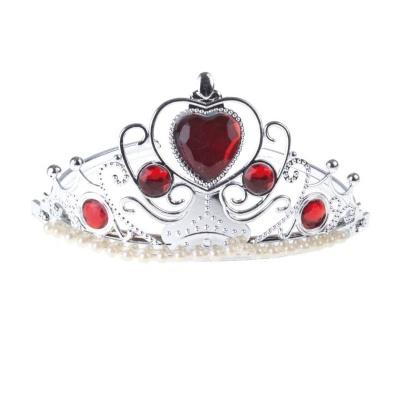 Stříbrná korunka s červenými kameny