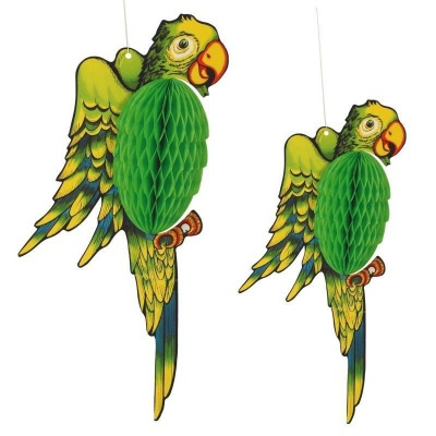 Dekorace papoušek 2ks - 40 a 30cm