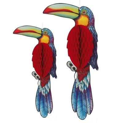 Dekorace papoušek tukan 2ks - 40 a 30cm