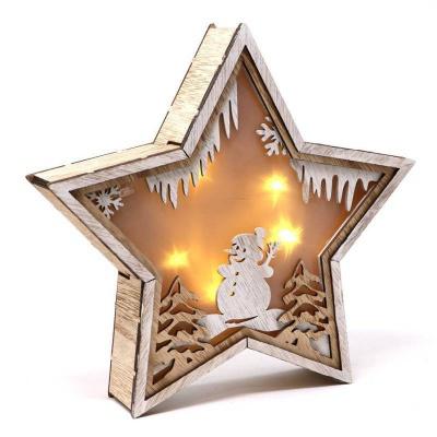 Vánoční dekorace LED svítící dřevěná hvězda 24cm