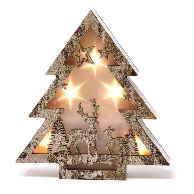 Vánoční dekorace LED svítící dřevěný stromeček 16cm