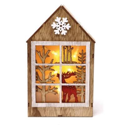 Vánoční dekorace LED svítící dřevěný domeček 20cm
