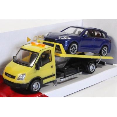 Odtahovka IVECO a Porsche modré model auta Mondo Motors 1:43