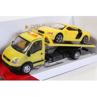 Odtahovka IVECO a Audi žluté model auta Mondo Motors 1:43