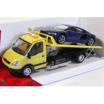 Odtahovka IVECO a Audi modré model auta Mondo Motors 1:43