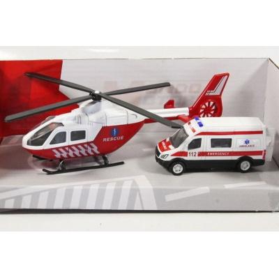 Vrtulník a auto Záchranná služba Ambulance model Mondo Motors 1:64