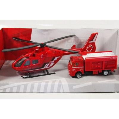 Vrtulník a auto Hasiči model Mondo Motors 1:64