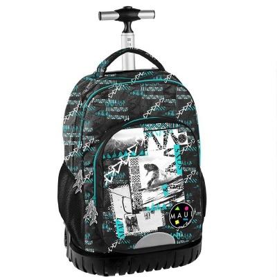 Cestovní batoh na kolečkách s vysouvací rukojetí Maui and Sons zelenočerný