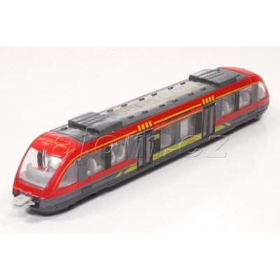 Kovový vláček tramvaj červená