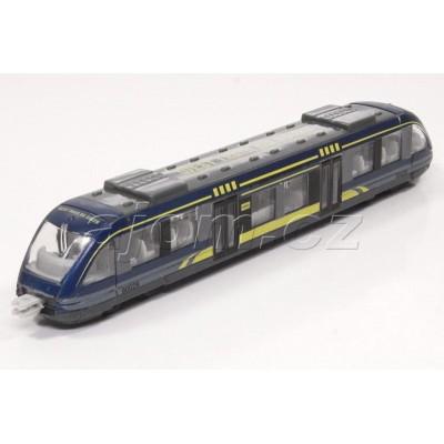 Kovový vláček tramvaj modrá