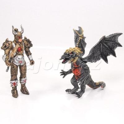 Figurka bojovník a šedý drak
