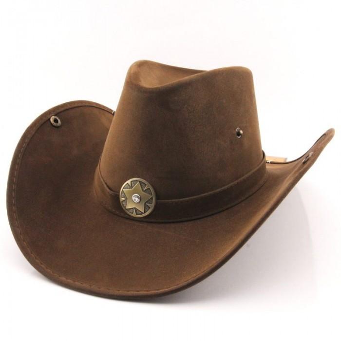 Kovbojský klobouk kožený vzhled - hnědý