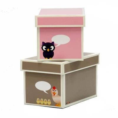 Krooom Krabice 2ks menší růžová a hnědá EKO výrobek