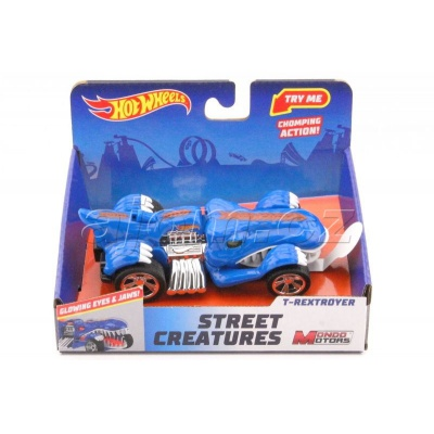Hot Wheels Street Creatures T-Rextroyer Blue světlo a zvuk