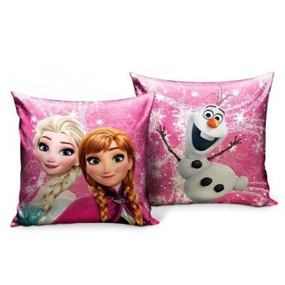 Polštářek Frozen Elsa a Anna oboustranný 33 x 33 cm