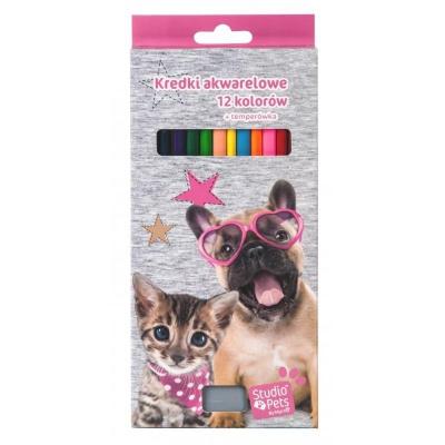 Pastelky s ořezávátkem 12 barev Pejsek a kočka