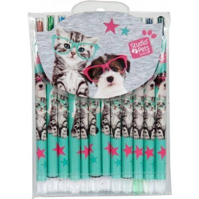 Pastelky 12 barev Pejsek a kočka s brýlemi