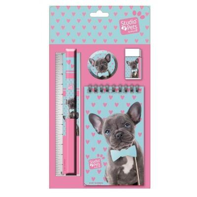 Sada na psaní 5ks Pes s motýlkem - blok, tužka, pravítko, ořezávátko a guma